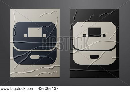 White Vote Box Or Ballot Box With Envelope Icon Isolated On Crumpled Paper Background. Paper Art Sty