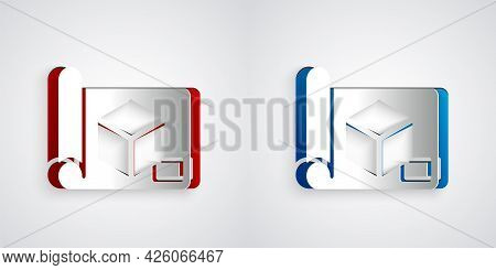 Paper Cut Graphing Paper For Engineering Icon Isolated On Grey Background. Paper Art Style. Vector