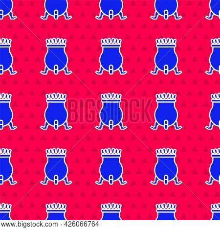 Blue Witch Cauldron Icon Isolated Seamless Pattern On Red Background. Happy Halloween Party. Vector