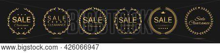 Clearance Sale Golden Laurel Wreath Label Set