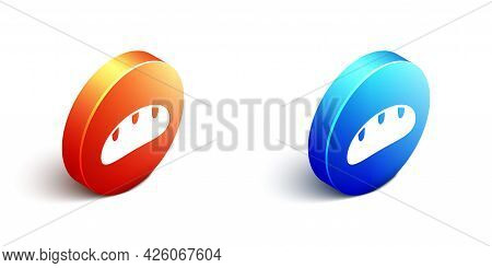 Isometric Bread Loaf Icon Isolated On White Background. Orange And Blue Circle Button. Vector
