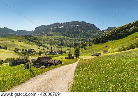 The Village Of Schwende In The Appenzell Alps, Canton Appenzell Innerrhoden, Switzerland