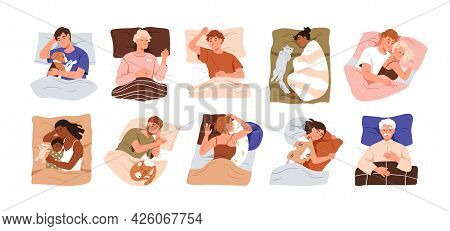 Set Of Happy People Lying With Pillows And Blankets, Sleeping Alone And In Couple In Beds. Asleep Me