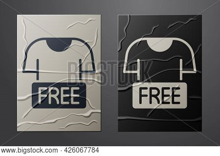 White Clothes Donation Icon Isolated On Crumpled Paper Background. Paper Art Style. Vector