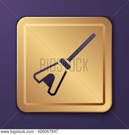 Purple Mop Icon Isolated On Purple Background. Cleaning Service Concept. Gold Square Button. Vector