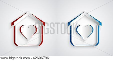 Paper Cut Shelter For Homeless Icon Isolated On Grey Background. Emergency Housing, Temporary Reside