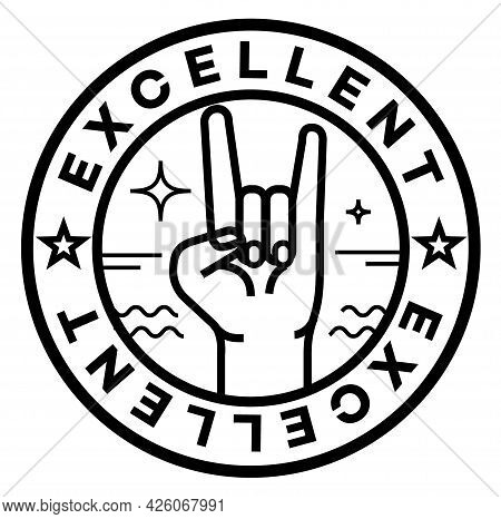 Excellent Isolated On White Sign, Badge, Stamp