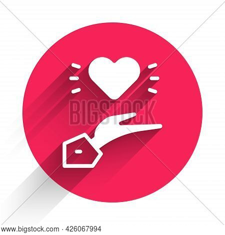 White Pleasant Relationship Icon Isolated With Long Shadow. Romantic Relationship Or Pleasant Meetin