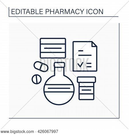 Brand Name Line Icon. Name For Manufacturer Or Organization To Medical Product Or Service. Tubes, Pi