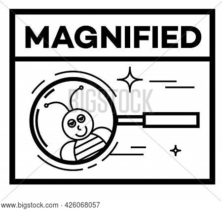 Magnified Isolated On White Sign, Badge, Stamp