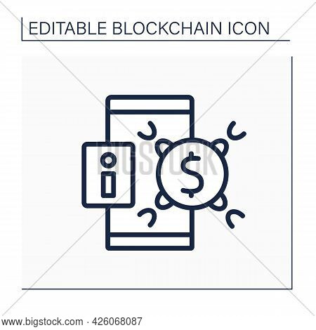 Transaction History Line Icon. Cryptocurrency Exchange And Transfer Commit. Virtual Wallet, Banking.