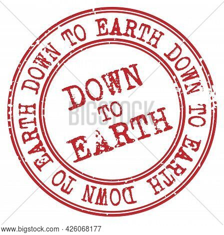 Down To Earth Isolated On White Sign, Badge, Stamp