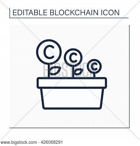 Crypto Farm Line Icon. Massive Bank Of Servers. Cryptocurrency Mining. Digital Money, Finance System