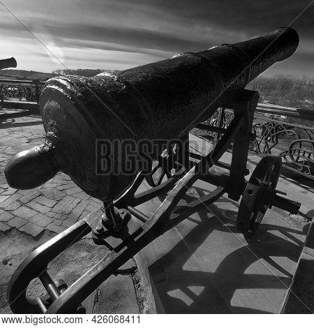 An Old Artillery Piece On A Rampart In Chernigov.