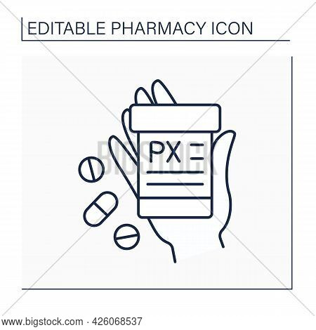 Label Line Icon.short Information About Pills. Receipt. Pharmacy Concept. Isolated Vector Illustrati
