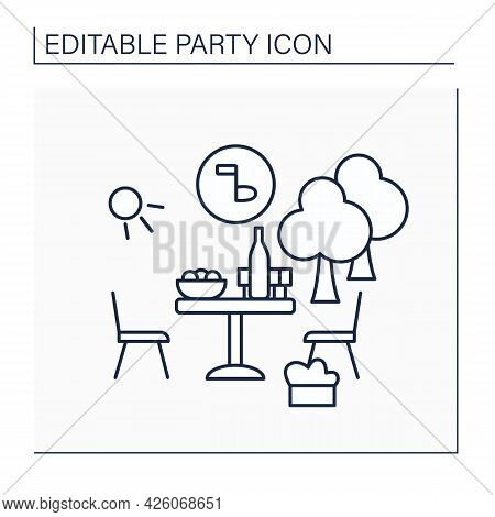 Garden Party Line Icon. Special Private Party During Afternoon. Outdoor Celebration In Garden Or Yar