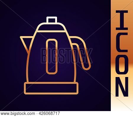 Gold Line Electric Kettle Icon Isolated On Black Background. Teapot Icon. Vector