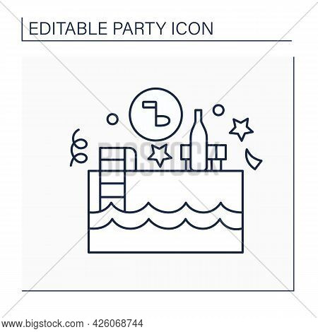 Pool Party Line Icon. Events Near And In Swimming Pool. Outside Celebrations With Snacks And Music.