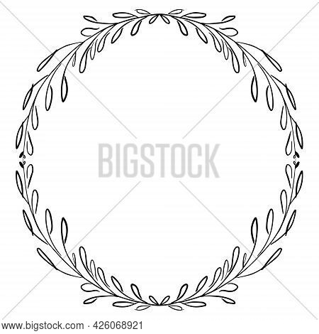 Simple Black And White Hand Drawn Wreath Round Frame With Stylized Leaves Isolated Vector Illustrati