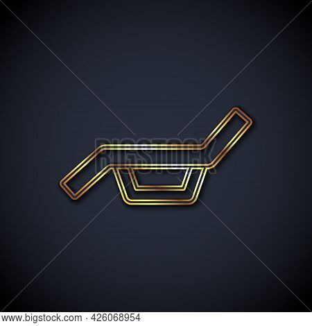Gold Line Sunbed Icon Isolated On Black Background. Sun Lounger. Vector