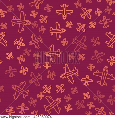 Brown Line Plane Icon Isolated Seamless Pattern On Red Background. Flying Airplane Icon. Airliner Si