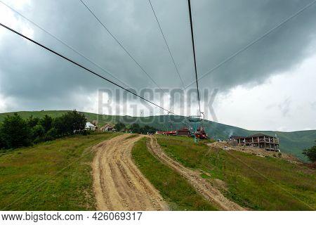Mount Gymba. Carpathians. Ukraine. July 25. 2020. Mountain Chairlift To Mount Gymbu Recreation Trave
