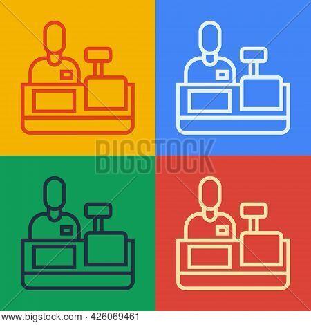 Pop Art Line Cashier At Cash Register Supermarket Icon Isolated On Color Background. Shop Assistant,