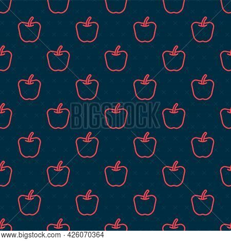 Red Line Apple Icon Isolated Red Line Background. Excess Weight. Healthy Diet Menu. Fitness Diet App