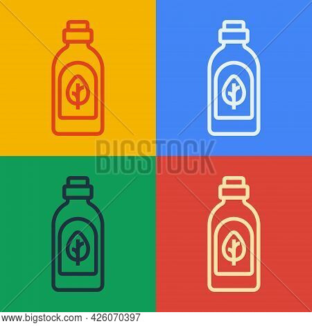 Pop Art Line Essential Oil Bottle Icon Isolated Pop Art Line Background. Organic Aromatherapy Essenc