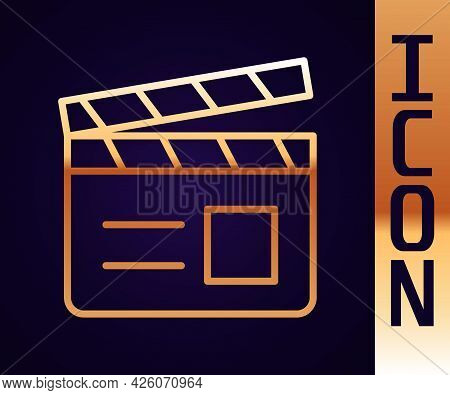 Gold Line Movie Clapper Icon Isolated On Black Background. Film Clapper Board. Clapperboard Sign. Ci