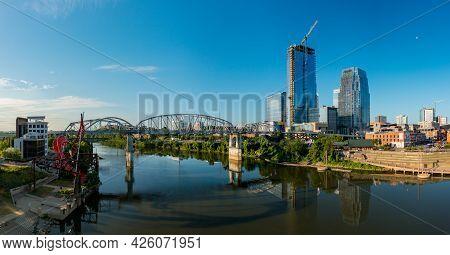 Nashville, Tennessee - 28 June 2021: Aerial Drone Panorama Of The John Seigenthaler Pedestrian Bridg