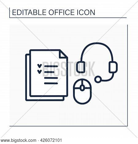 Devices Line Icon. Headset With Microphone And Headphones, Computer Mouse And Tasks To Do. Work Atmo