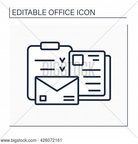Documentation Line Icon. Checklists And Letters For Work Questions. Task And Other Documents.office