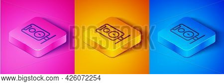Isometric Line Stereo Speaker Icon Isolated On Pink And Orange, Blue Background. Sound System Speake