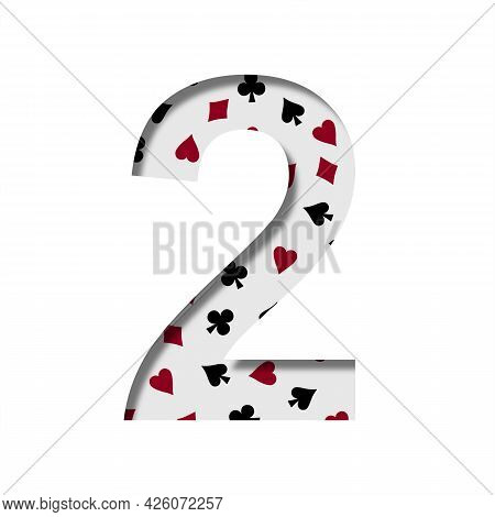 Card Games Font. Digit Two, 2 Cut Out Of Paper On The Background Of The Pattern Of Card Suits Spades