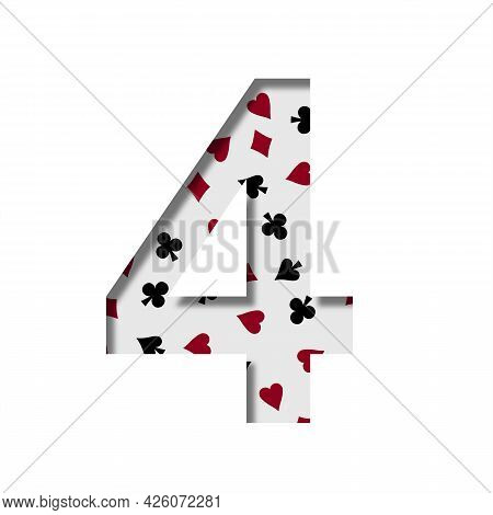 Card Games Font. Digit Four, 4 Cut Out Of Paper On The Background Of The Pattern Of Card Suits Spade