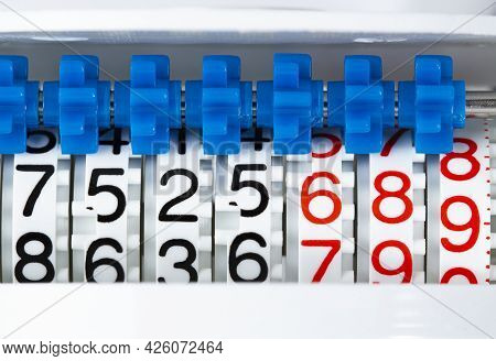 Wheels With Numbers And Gears Mechanism Of The Meter For Accounting