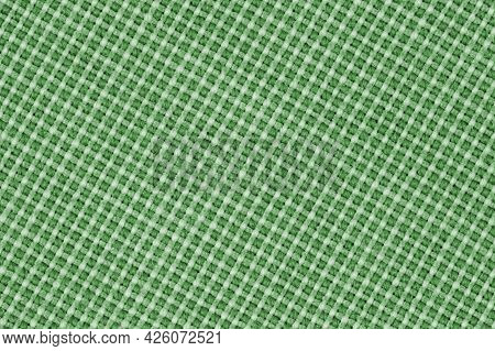 Pattern Of Green Fabric Texture With Large Weaving As A Background Or Backdrop. Top View, Flat Lay,