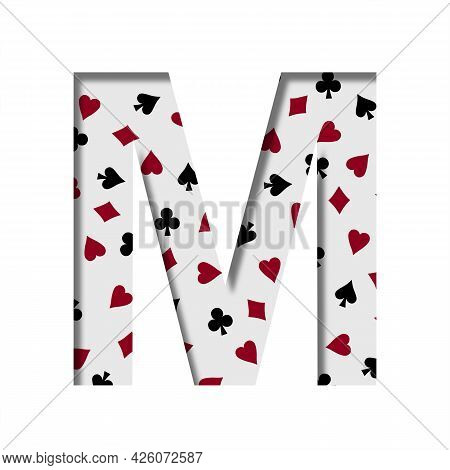Card Games Font. The Letter M Cut Out Of Paper On The Background Of The Pattern Of Card Suits Spades