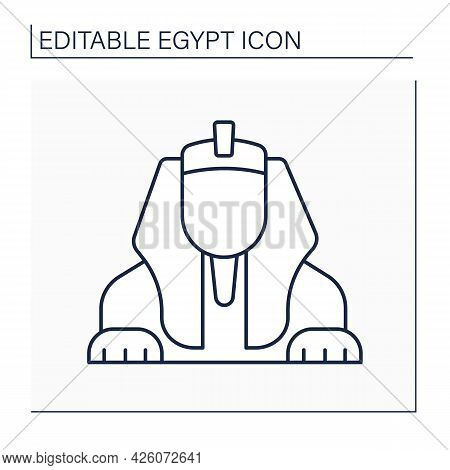Sphinx Line Icon. Limestone Statue Of Reclining Giza Sphinx. Mythical Creature.lion Body And Human H