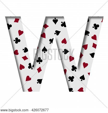 Card Games Font. The Letter W Cut Out Of Paper On The Background Of The Pattern Of Card Suits Spades