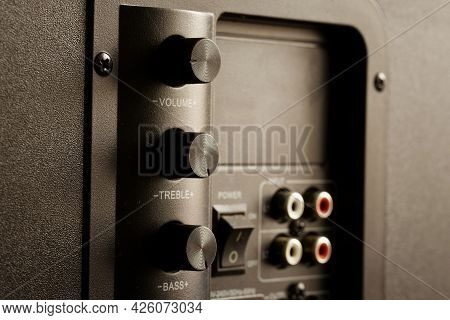 Volume, Treble And Bass Controls On The Back Of The Powerful Subwoofer. Vertical Arrangement Of Volu