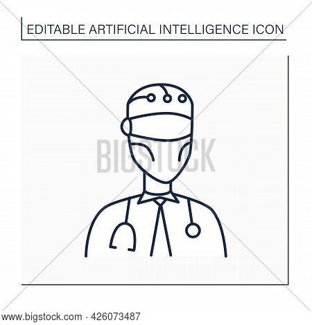 Robot Line Icon. Ai In Medicine. Digital Doctor. Modern Technologies. Ai Diagnostic Concept. Isolate