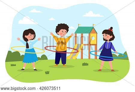 Twist The Hula Hoop. Children Walk In The Park And Play With A Hoop. Activity For Little Girls And B