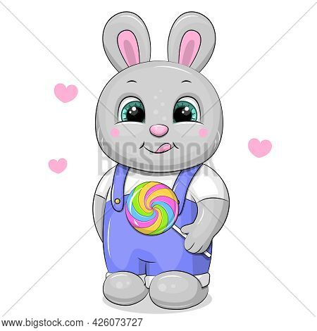 Cute Cartoon Rabbit With A Big Lollipop. Vector Illustration Of An Animal On A White Background With