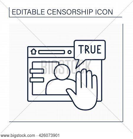 Deplatform Line Icon. Limitation Actions On Particular Website.unacceptable Person. Persona Non Grat