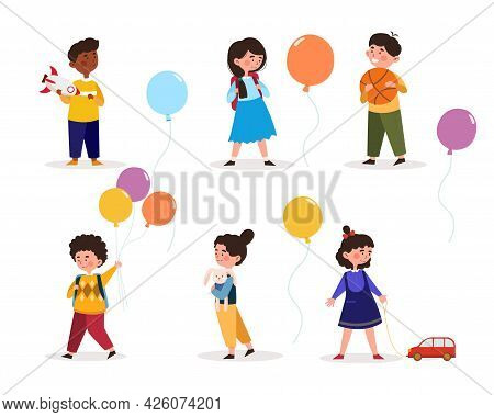 Children Play With Their Favorite Toys. Little Girls And Boys Hold Balloons In Their Hands And Go To