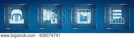 Set Hangar With Servers, Folder And Lock, File Missing And Server, Data, Web Hosting. Square Glass P