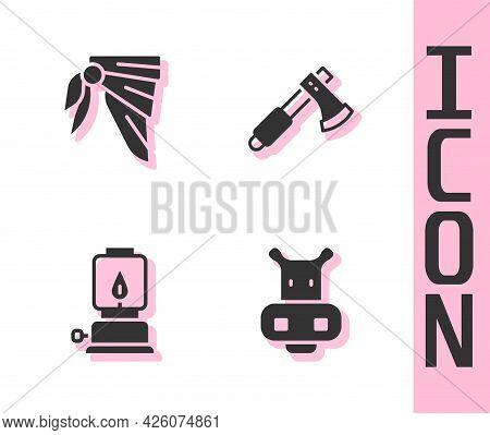 Set Hippo Or Hippopotamus, Bandana Biker Scarf, Camping Lantern And Wooden Axe Icon. Vector