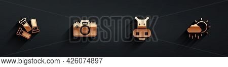 Set Cartridges, Photo Camera, Hippo Or Hippopotamus And Cloud With Rain Icon With Long Shadow. Vecto